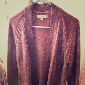 Chenille long open cardigan